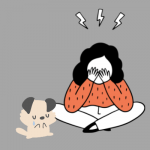 A cartoon dog cries and tried to comfort his cartoon owner, who is sad.