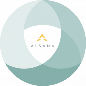 Alsana logo in circle of venn diagrams, representing our adaptive approach to eating disorder treatment.